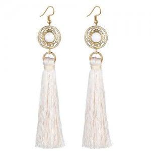Long Threads Tassel with Round Golden Pendant Bohemian Fashion Women Costume Earrings - White