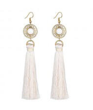 Long Threads Tassel with Round Golden Pendant Bohemian Fashion Women Costume Earrings - White