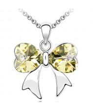 Elegant Light Yellow Crystal Bowknot Pendant Necklace