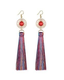 Long Threads Tassel with Round Golden Pendant Bohemian Fashion Women Costume Earrings - Multicolor