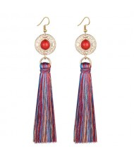 Long Threads Tassel with Round Golden Pendant Bohemian Fashion Women Costume Earrings - Multicolor