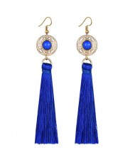 Long Threads Tassel with Round Golden Pendant Bohemian Fashion Women Costume Earrings - Blue