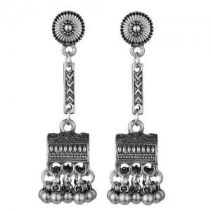 Vintage Jewel Box Pendant Tassel Fashion Women Alloy Earrings - Silver
