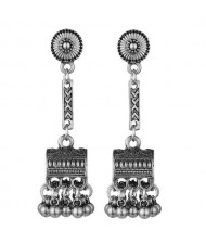 Vintage Jewel Box Pendant Tassel Fashion Women Alloy Earrings - Silver
