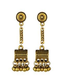 Vintage Jewel Box Pendant Tassel Fashion Women Alloy Earrings - Golden