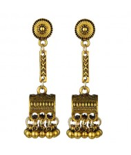 Vintage Jewel Box Pendant Tassel Fashion Women Alloy Earrings - Golden