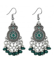 Beads Tassel Vintage Waterdrop Folk Fashion Women Alloy Costume Earrings - Green