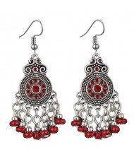 Beads Tassel Vintage Waterdrop Folk Fashion Women Alloy Costume Earrings - Red