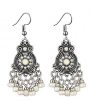 Beads Tassel Vintage Waterdrop Folk Fashion Women Alloy Costume Earrings - White
