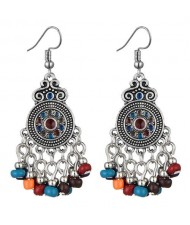 Beads Tassel Vintage Waterdrop Folk Fashion Women Alloy Costume Earrings - Multicolor