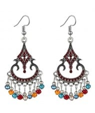 Beads Tassel Decorated Unique Waterdrop Design Vintage Fashion Women Costume Earrings - Red and Multicolor