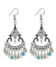 Beads Tassel Decorated Unique Waterdrop Design Vintage Fashion Women Costume Earrings - White and Multicolor