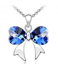 Elegant Dark Blue Crystal Bowknot Pendant Necklace