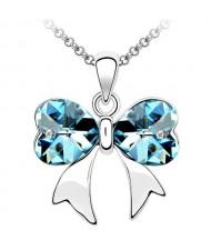 Elegant Aquamarine Crystal Bowknot Pendant Necklace