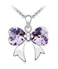 Elegant Violet Crystal Bowknot Pendant Necklace
