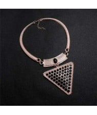 Rhinestone and Gem Embellished Triangle Pendant Snake Chain Design Women Statement Bib Necklace - Rose Gold and Black