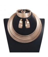 Wire Bundle Design High Fashion 4 pcs Women Alloy Costume Jewelry Set