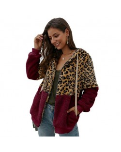 Leopard Prints Mingled Contrast Style Long Sleeves Winter Fashion Women Top - Wine Red