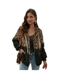 Leopard Prints Mingled Contrast Style Long Sleeves Winter Fashion Women Top - Army Green