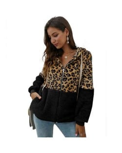 Leopard Prints Mingled Contrast Style Long Sleeves Winter Fashion Women Top - Black