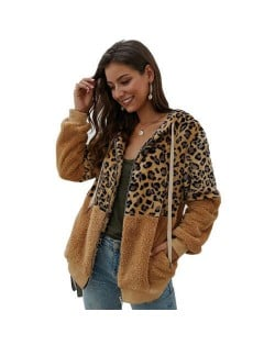 Leopard Prints Mingled Contrast Style Long Sleeves Winter Fashion Women Top - Kahki
