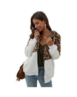 Leopard Prints Mingled Contrast Style Long Sleeves Winter Fashion Women Top - White
