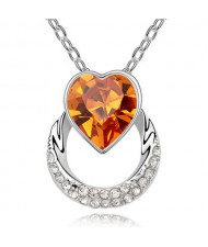 Heart on the Hoop Design Austrian Crystal Pendant Necklace - Yellow