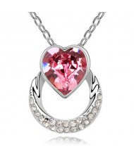Heart on the Hoop Design Austrian Crystal Pendant Necklace - Rose