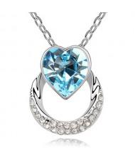 Heart on the Hoop Design Austrian Crystal Pendant Necklace - Aquamarine