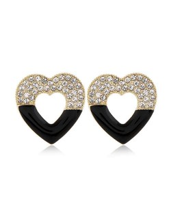 Rhinestone Embellished Hollow Heart Glistening Fashion Alloy Women Stud Earrings - Black