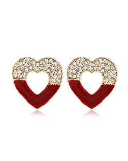 Rhinestone Embellished Hollow Heart Glistening Fashion Alloy Women Stud Earrings - Red