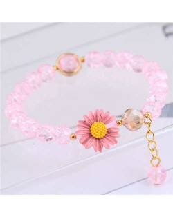 Daisy Decorated Resin Beads High Fashion Women Costume Bracelet - Pink