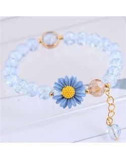 Daisy Decorated Resin Beads High Fashion Women Costume Bracelet - Blue