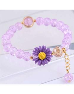 Daisy Decorated Resin Beads High Fashion Women Costume Bracelet - Purple