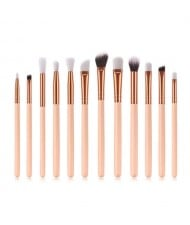 12 pcs Solid Color Wooden Handle High Fashion Women Cosmetic Makeup Brushes Set - Light Brown