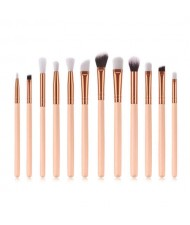 12 pcs Solid Color Wooden Handle High Fashion Women Cosmetic Makeup Brushes Set - Pink