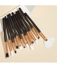 12 pcs Solid Color Wooden Handle High Fashion Women Cosmetic Makeup Brushes Set - Black