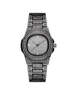Rhinestone All-over Design Luxurious Shining Fashion Women Wrist Watches - Black
