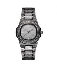 Rhinestone All-over Design Luxurious Shining Fashion Women Wrist Watches - Black