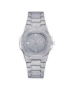 Rhinestone All-over Design Luxurious Shining Fashion Women Wrist Watches - Silver