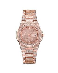 Rhinestone All-over Design Luxurious Shining Fashion Women Wrist Watches - Rose Gold