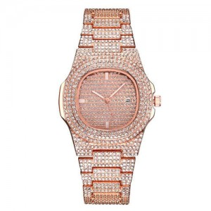 Rhinestone All-over Design Luxurious Shining Fashion Women Wrist Watches - Rose Gold