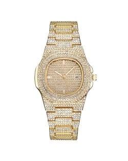 Rhinestone All-over Design Luxurious Shining Fashion Women Wrist Watches - Golden