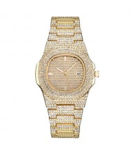 Rhinestone All-over Design Luxurious Shining Fashion Women Wrist Watches - Golden
