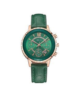 6 Colors Available Multiple Indexes with Calendar Design High Fashion Women Leather Costume Wrist Watch