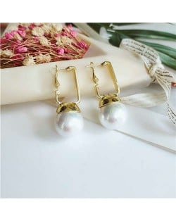 Simple Pearl Fashion Golden Women Ear Clips - White