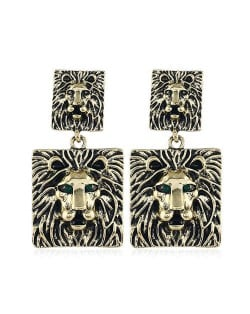 Vintage Bold Style Lion Design Square Shape High Fashion Women Costume Earrings