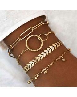 Golden Leaves and Bells Combo Design 4pcs Combo Fashion Women Bracelets