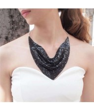Shining Aluminum Sequins Triangle Scarf Design High Fashion Women Bib Statement Necklace - Black