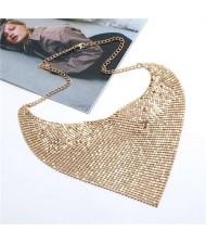 Shining Aluminum Sequins Triangle Scarf Design High Fashion Women Bib Statement Necklace - Golden